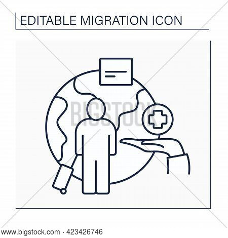 Humanitarian Visa Line Icon. Refugees Protection From Persecution. Granted To Individuals In Dangero