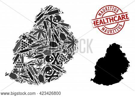 Vector Addiction Mosaic Map Of Mauritius Island. Rubber Health Care Round Red Watermark. Template Fo
