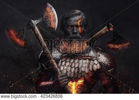 Ancient Demonic Warrior With Axes Against Dark Background