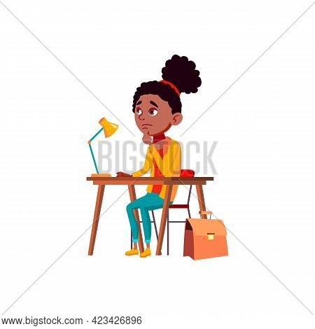 Thoughtful Girl Sitting At Desk Thinking About Math Problem Cartoon Vector. Thoughtful Girl Sitting