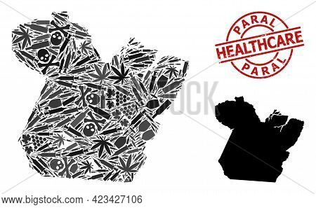 Vector Narcotic Mosaic Map Of Paral State. Rubber Health Care Round Red Rubber Imitation. Concept Fo
