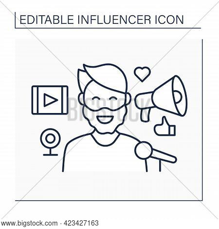 Blogger Influencer Line Icon. Man Share Personal Knowledge, Thoughts On Web Pages. High Influence On