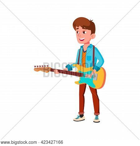 Boy Musician Playing On Guitar Cartoon Vector. Boy Musician Playing On Guitar Character. Isolated Fl