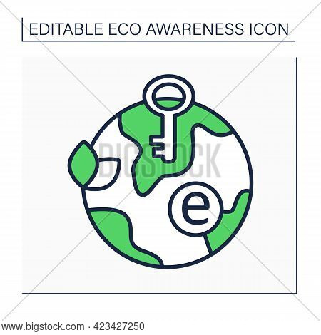 Green Key Line Icon. Mark. Ecolabel For Hotels, Campsites, Holiday Parks, Small Accommodations. Eco