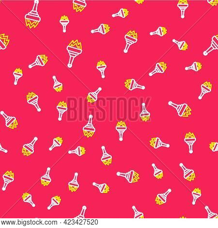 Line Torch Flame Icon Isolated Seamless Pattern On Red Background. Symbol Fire Hot, Flame Power, Fla