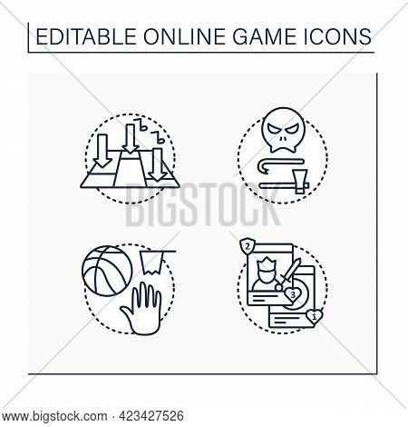Online Game Line Icons Set. Different Game Types. Rhythm, Team Sport, Collectible Card, Survival Hor