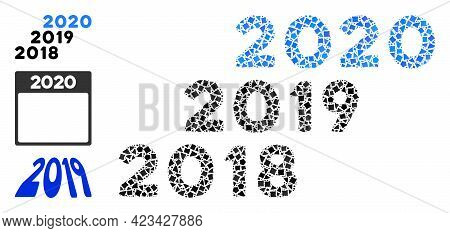 Mosaic 2018 - 2020 Years Icon Organized From Rough Parts In Different Sizes, Positions And Proportio