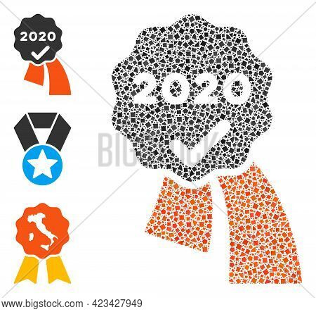 Mosaic 2020 Approve Award Icon Constructed From Tremulant Items In Different Sizes, Positions And Pr