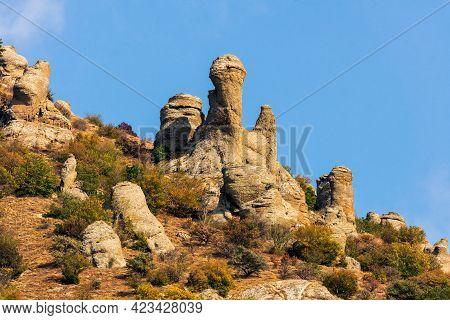 Beautiful Scenic Sunny Blue Sky Landscape Of Yuzhnaya Demerdzhi Rocky Mountain In Crimea, Russia Cal