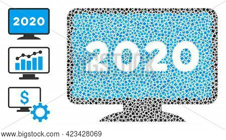 Collage 2020 Display Screen Icon United From Trembly Items In Different Sizes, Positions And Proport