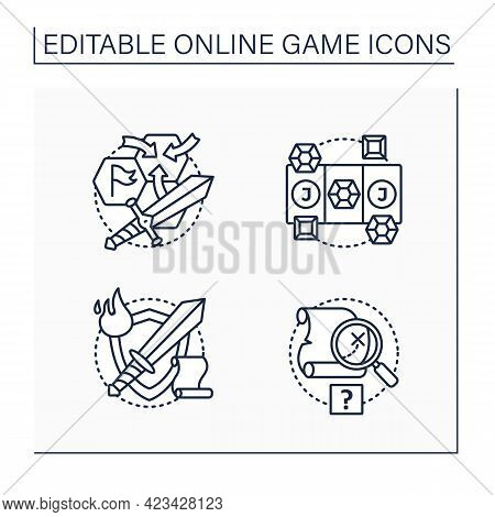 Online Game Line Icons Set. Different Game Types. Quest, Role Play, Three In Row, Strategy Games. Mo