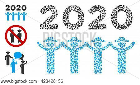 Mosaic 2020 Gentlemen Dance Icon Designed From Rugged Spots In Various Sizes, Positions And Proporti
