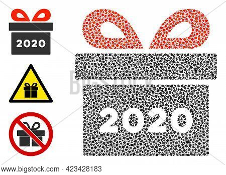 Collage 2020 Gift Icon Composed Of Trembly Pieces In Various Sizes, Positions And Proportions. Vecto