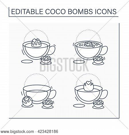 Coco Bombs Line Icons Set. Delicious Dessert. Cute Ball Of Chocolate With Marshmallows Filling. Choc