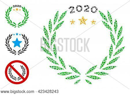 Mosaic 2020 Laurel Wreath Icon Constructed From Uneven Parts In Different Sizes, Positions And Propo
