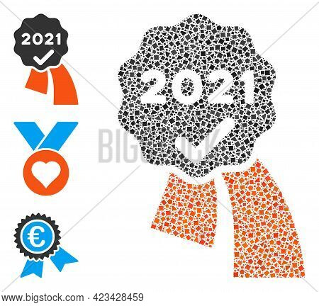 Mosaic 2021 Approve Award Icon Composed Of Ragged Elements In Random Sizes, Positions And Proportion
