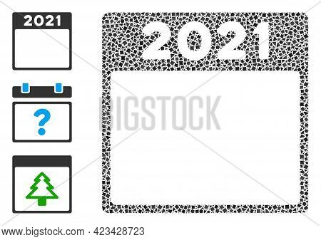 Mosaic 2021 Calendar Leaf Icon Composed Of Tuberous Spots In Variable Sizes, Positions And Proportio