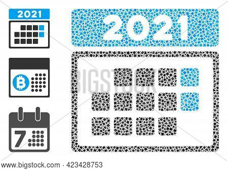 Mosaic 2021 Calendar Month Table Icon Composed Of Joggly Items In Various Sizes, Positions And Propo