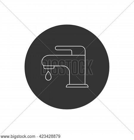 Faucet Line Icon Flat Style. Vector Illustration