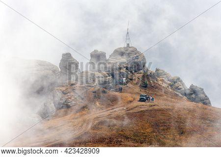 Beautiful Scenic Foggy Landscape Of Yuzhnaya Demerdzhi Rocky Mountain In Crimea, Russia Called Dolin