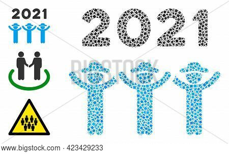 Mosaic 2021 Gentlemen Dance Icon Composed Of Rough Elements In Random Sizes, Positions And Proportio