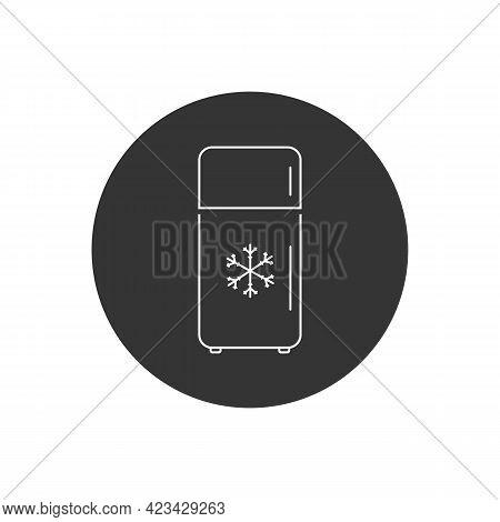 Refrigerator Vector Line Icon. Frig Flat Sign Design. Freezer Symbol Pictogram. Frig Icon. Refrigera