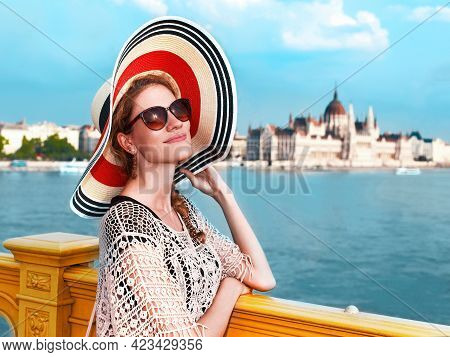 Young Woman Posing At Budapest Panorama During Summer Holiday