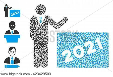 Mosaic 2021 Showing Man Icon Constructed From Joggly Parts In Random Sizes, Positions And Proportion