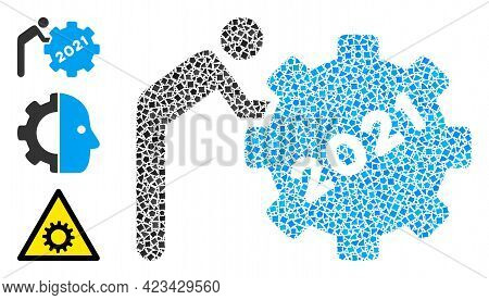 Mosaic 2021 Worker Rolling Gear Icon Organized From Bumpy Spots In Random Sizes, Positions And Propo