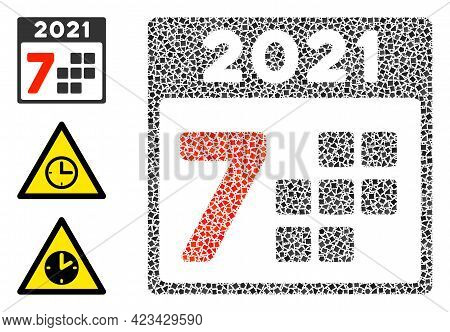 Mosaic 2021 Year 7 Days Icon Organized From Ragged Items In Variable Sizes, Positions And Proportion