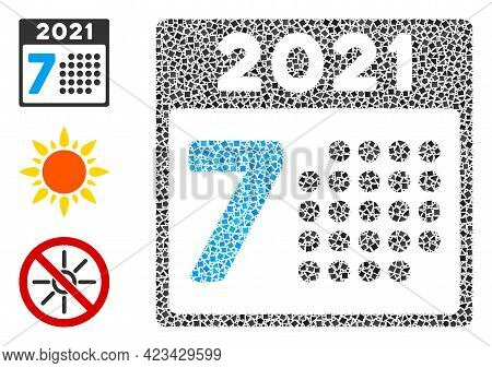 Mosaic 2021 Year 7th Day Icon Composed Of Humpy Spots In Random Sizes, Positions And Proportions. Ve