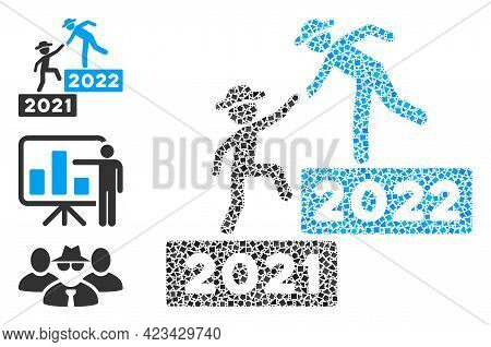 Mosaic 2022 Business Training Icon Composed Of Uneven Pieces In Various Sizes, Positions And Proport
