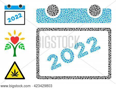 Collage 2022 Calendar Leaf Icon Organized From Rugged Parts In Variable Sizes, Positions And Proport
