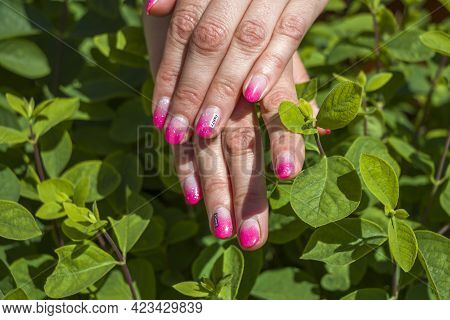Creative Funny Pink Manicure Design With Inscription Party Dance. Summer Party Style. Female Hands W
