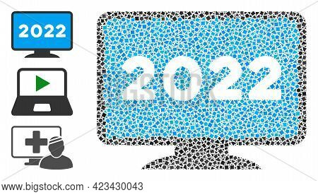 Mosaic 2022 Display Screen Icon United From Joggly Spots In Random Sizes, Positions And Proportions.