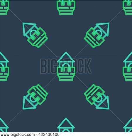 Line Castle Tower Icon Isolated Seamless Pattern On Blue Background. Fortress Sign. Vector
