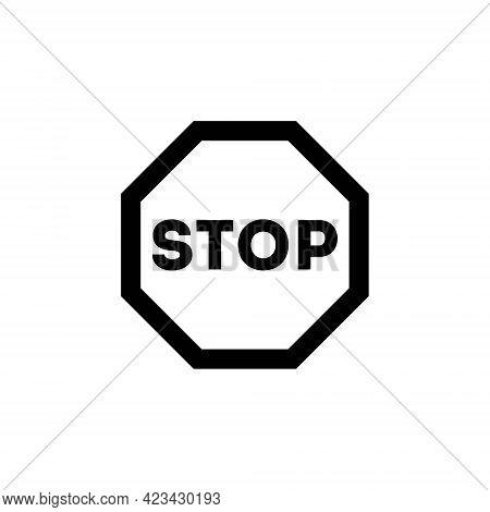 Outline Icon. Stop Sign Emblem. Vector Illustration