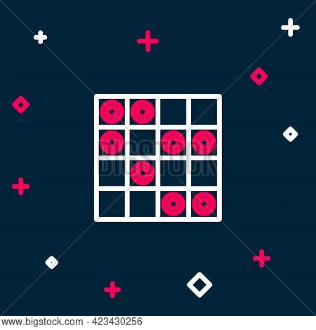 Line Board Game Of Checkers Icon Isolated On Blue Background. Ancient Intellectual Board Game. Chess