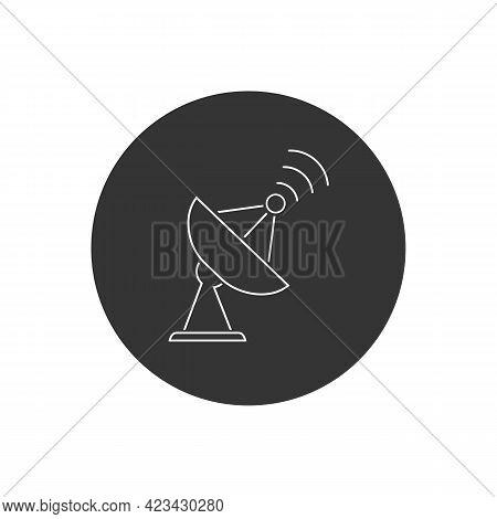 Satellite Vector Line Icon, Wireless Satellite Icon Sign