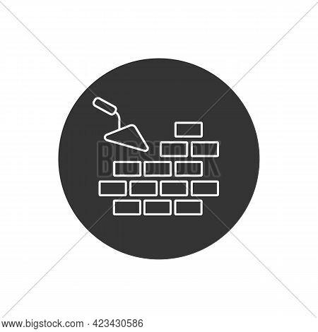 Vector Line Icons Brickwork And Building Trowel