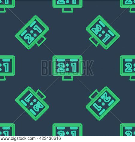 Line Sport Mechanical Scoreboard And Result Display Icon Isolated Seamless Pattern On Blue Backgroun