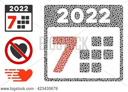 Mosaic 2022 Year 7 Days Icon Constructed From Raggy Parts In Variable Sizes, Positions And Proportio