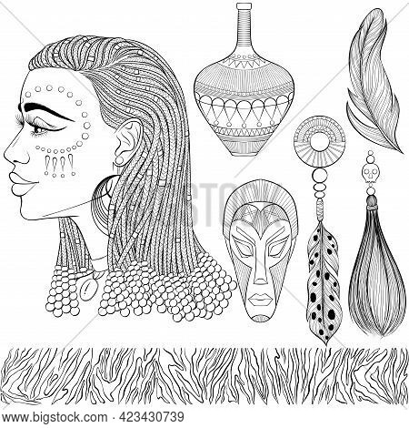 African Ethnic Beauty. Set With Profile Of The Beautiful Black Woman With African Braids, Mask, Jewe
