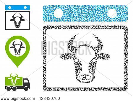 Mosaic Bull Calendar Leaf Icon Composed Of Inequal Items In Various Sizes, Positions And Proportions