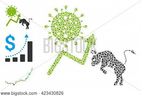 Mosaic Bull Covid Market Icon Organized From Irregular Items In Variable Sizes, Positions And Propor