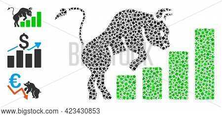 Mosaic Bullish Market Chart Icon Organized From Tuberous Elements In Various Sizes, Positions And Pr