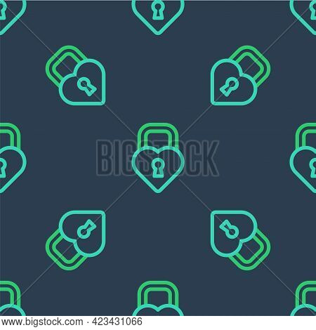 Line Castle In The Shape Of A Heart Icon Isolated Seamless Pattern On Blue Background. Locked Heart.