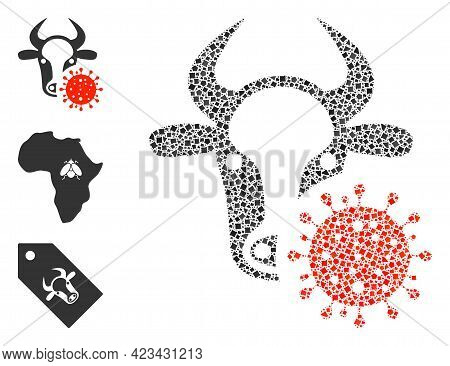 Mosaic Cow Coronavirus Icon United From Humpy Pieces In Various Sizes, Positions And Proportions. Ve