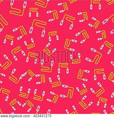 Line Jump Rope Icon Isolated Seamless Pattern On Red Background. Skipping Rope. Sport Equipment. Vec