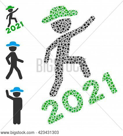 Mosaic Gentleman Climbing 2021 Icon Composed Of Trembly Items In Random Sizes, Positions And Proport